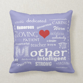 What makes a Mother-Attributes/White Throw Cushion