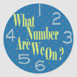what number are we on blue with numbers round sticker