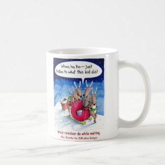 What reindeer do while waiting for Santa Basic White Mug
