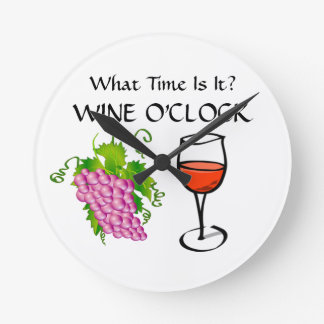 What Time Is It - It's WINE O'CLOCK Funny Wall Clocks