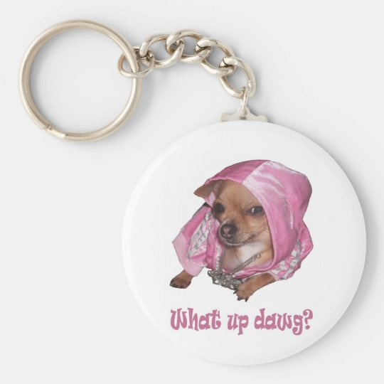 What up dawg basic round button key ring