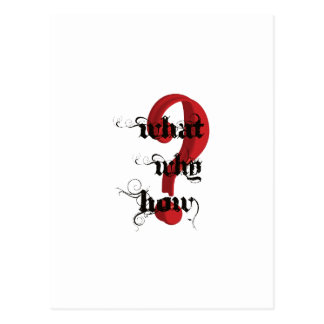 what why how Question Mark vintage Postcard