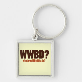 What would Buddha do Silver-Colored Square Key Ring