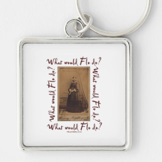 What would Flo Do? Florence Nightingale Silver-Colored Square Key Ring