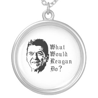 What would Reagan do? Round Pendant Necklace