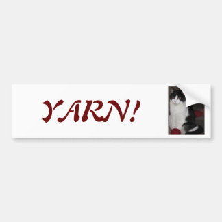 What yarn? Asks Mittzz C the Cat Bumper Sticker