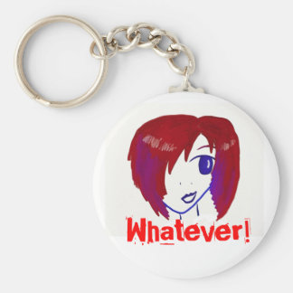 Whatever Badge Basic Round Button Key Ring