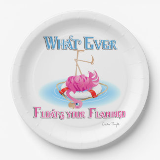 Whatever Floats Your Flamingo 9 Inch Paper Plate