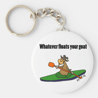 Whatever Floats your Goat Kayaking Cartoon Basic Round Button Key Ring