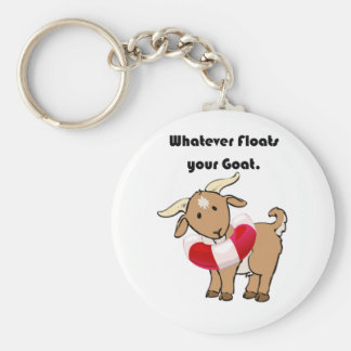 Whatever Floats your Goat Life Preserver Cartoon Key Ring