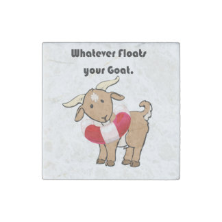 Whatever Floats your Goat Life Preserver Cartoon Stone Magnet