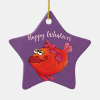 Whatever Funky Fish Art Holiday in Pink and Red Christmas Ornament