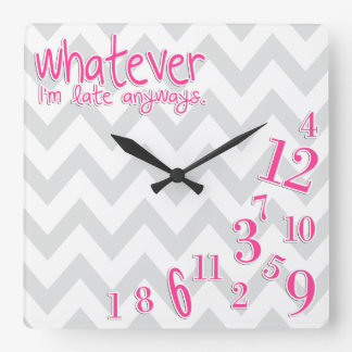 whatever - hot pink on gray and white chevron wallclock