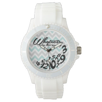 Whatever, I'm late anyway - blue and gray chevron Watch