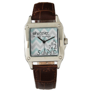 whatever, I'm late anyway - blue and gray chevron Wrist Watch