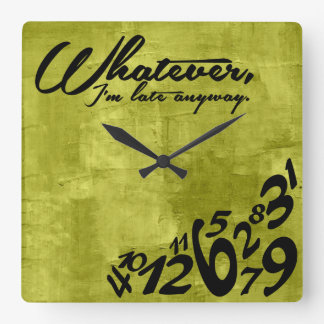 Whatever, I'm late anyway - lime green Wallclock