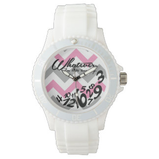 whatever, I'm late anyway - pink and gray chevron Watch
