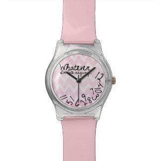 Whatever, I'm late anyway - Pink Chevron Pattern Wristwatch