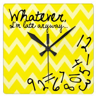 whatever, I'm late anyway - Yellow Chevron pattern Clocks