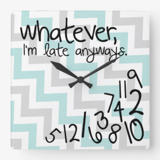 Whatever, I'm late anyways - blue and gray chevron Wall Clocks
