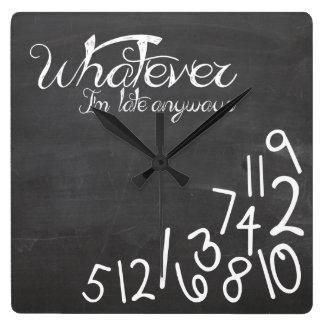 whatever, I'm late Anyways - Chalkboard Wallclocks