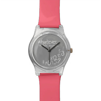 Whatever, I'm late anyways - Coral Pink and Gray Wrist Watch