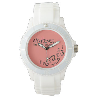 whatever, I'm late anyways - Coral Pink Wrist Watches