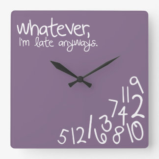 whatever, I'm late anyways - eggplant Square Wall Clock