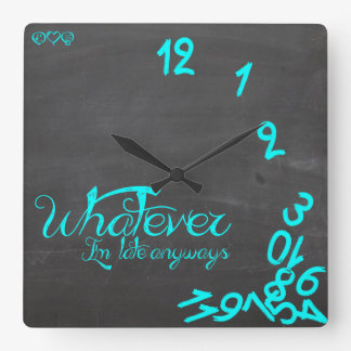 Whatever, I'm Late Anyways mint and chalkboard Clocks