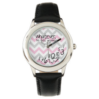Whatever, I'm late anyways - pink and gray chevron Wrist Watch