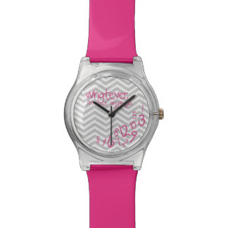 Whatever, I'm late anyways - Pink with Chevron Wristwatches