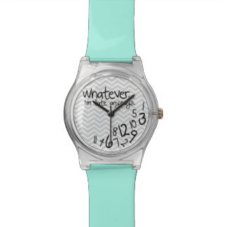 Whatever, I'm late anyways - Teal Blue and Gray Wristwatch