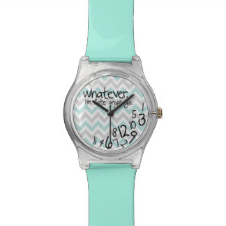 Whatever, I'm late anyways - Turquoise Chevron Wrist Watches
