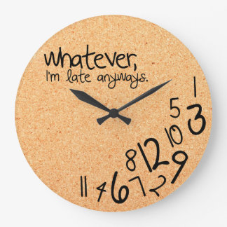 whatever with cork background texture large clock