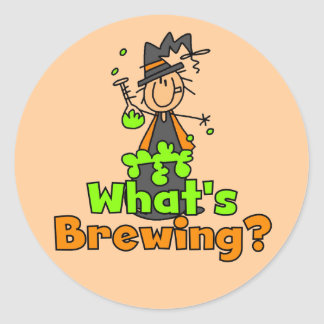 What's Brewing T-shirts and Gifts Round Sticker