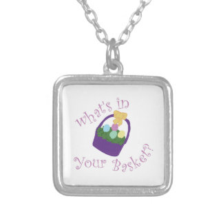 Whats in Your Basket Square Pendant Necklace