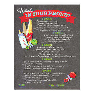 What's in your phone baby shower game 21.5 cm x 28 cm flyer