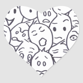 What's so Funny? Cartoon faces Heart Sticker