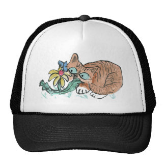 What's this? Tiger Kitten, butterfly on flower Trucker Hat