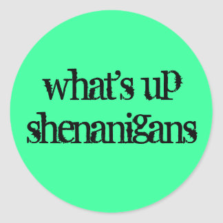 what's up shenanigans classic round sticker