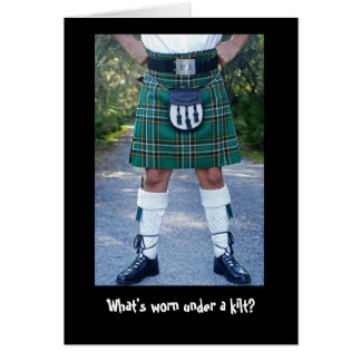 What's worn under a kilt? greeting card