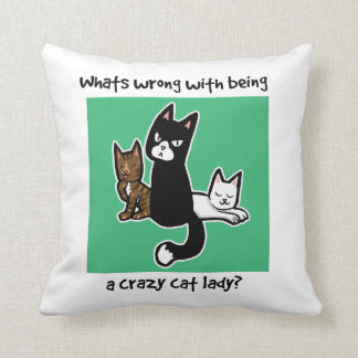 Whats wrong with being a crazy cat lady cushion
