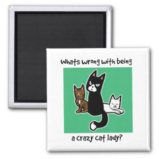 Whats wrong with being a crazy cat lady square magnet
