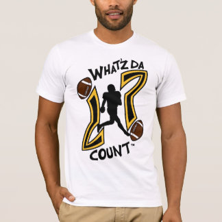WHAT'Z DA COUNT BLACK AND YELLOW FOOTBALL LOGO T-Shirt