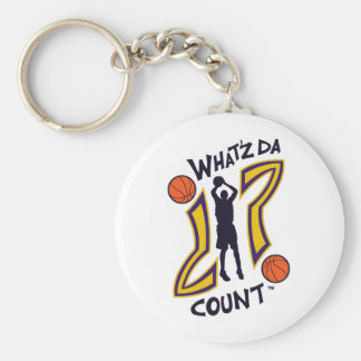 WHAT'Z DA COUNT CUSTOM BASKETBALL LOGO WITH IMAGE BASIC ROUND BUTTON KEY RING