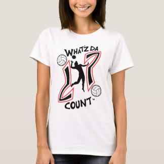 WHAT'Z DA COUNT LADIES BEACH VOLLEY BALL LOGO T-Shirt