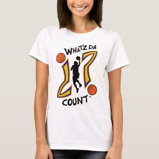 WHAT'Z DA COUNT WOMENS BASKETBALL LOGO WITH IMAGE T-Shirt