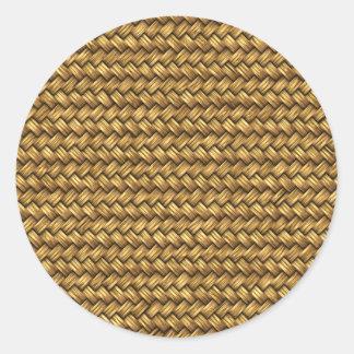 Wheat Color Basket Weave Pattern Texture Round Sticker