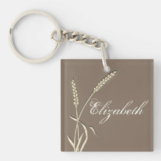 Wheat country wedding single grass Double-Sided square acrylic key ring