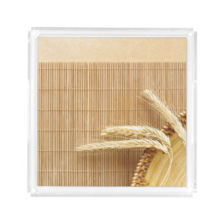 Wheat Ears On Wooden Plate Acrylic Tray